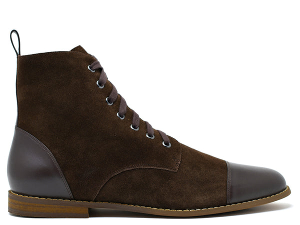 dara shoes mens brown suede laceup asti boots side view
