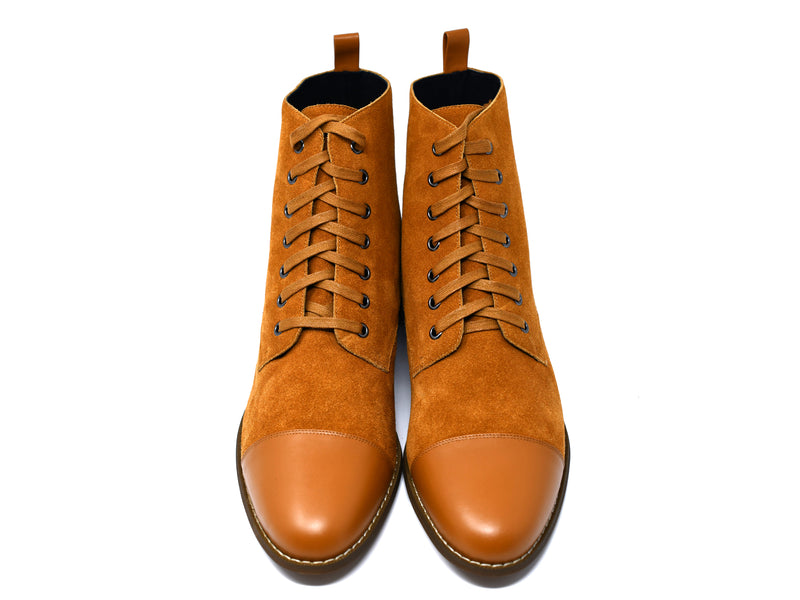 dara shoes mens sudan brown suede laceup asti boots front view