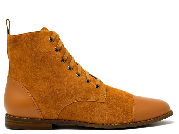 dara shoes mens sudan brown suede laceup asti boots side view