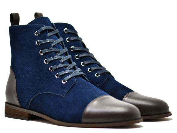 dara shoes mens asti suede laceup boots in blue brown leather front angle
