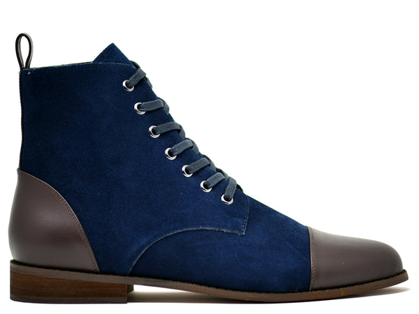 dara shoes mens asti suede laceup boots in blue brown leather side