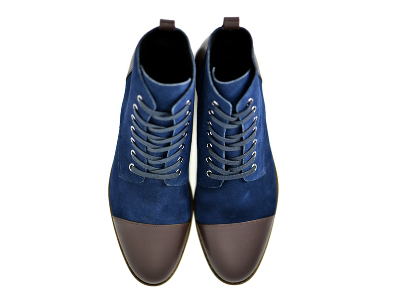 dara shoes mens asti suede laceup boots in blue brown leather top