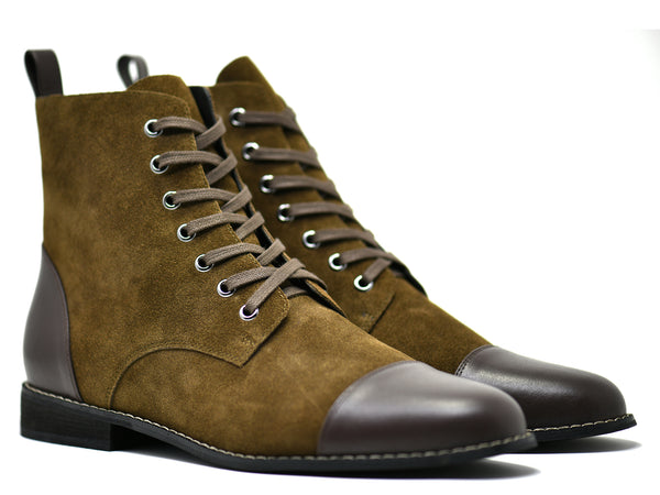 dara shoes mens asti suede laceup boots in olive brown leather front angle