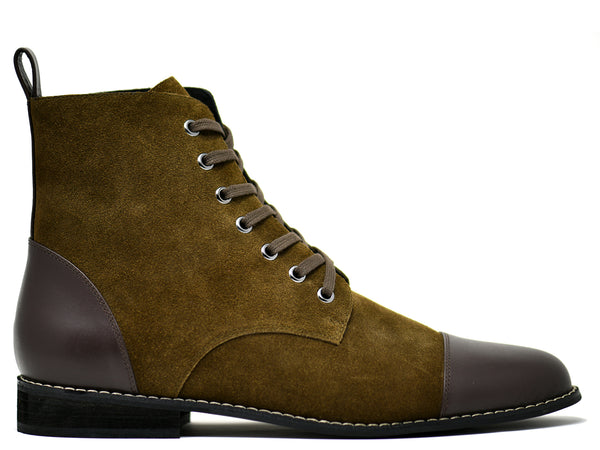 dara shoes mens asti suede laceup boots in olive brown leather side
