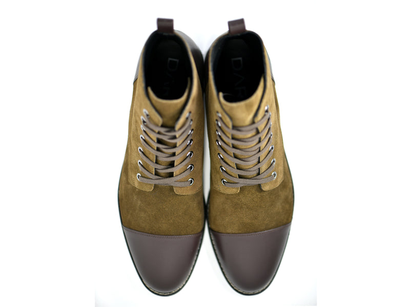 dara shoes mens asti suede laceup boots in olive brown leather top