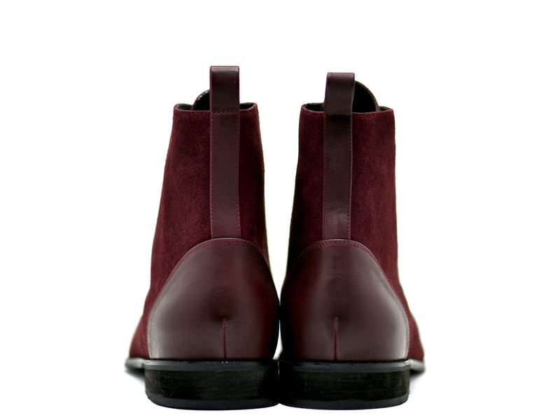 dara shoes mens asti suede laceup boots in oxblood red leather back