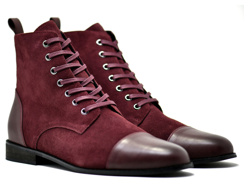 dara shoes mens asti suede laceup boots in oxblood red leather front angle