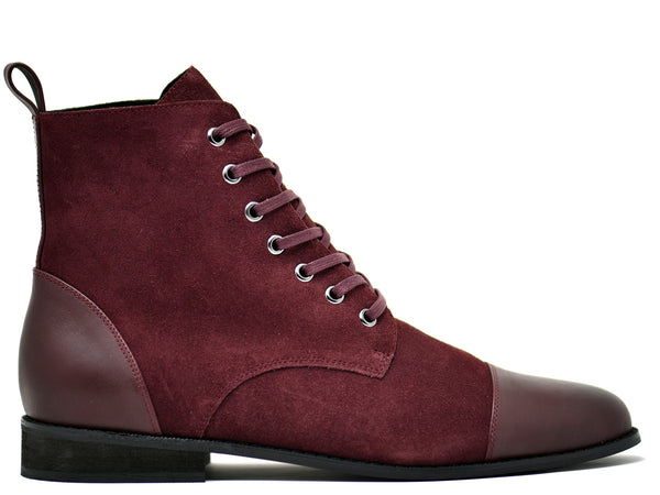 dara shoes mens asti suede laceup boots in oxblood red leather side