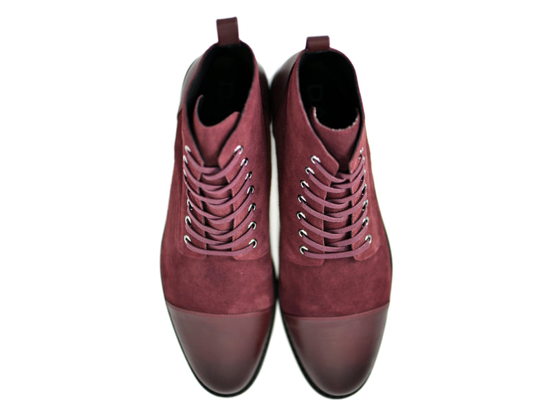 dara shoes mens asti suede laceup boots in oxblood red leather top