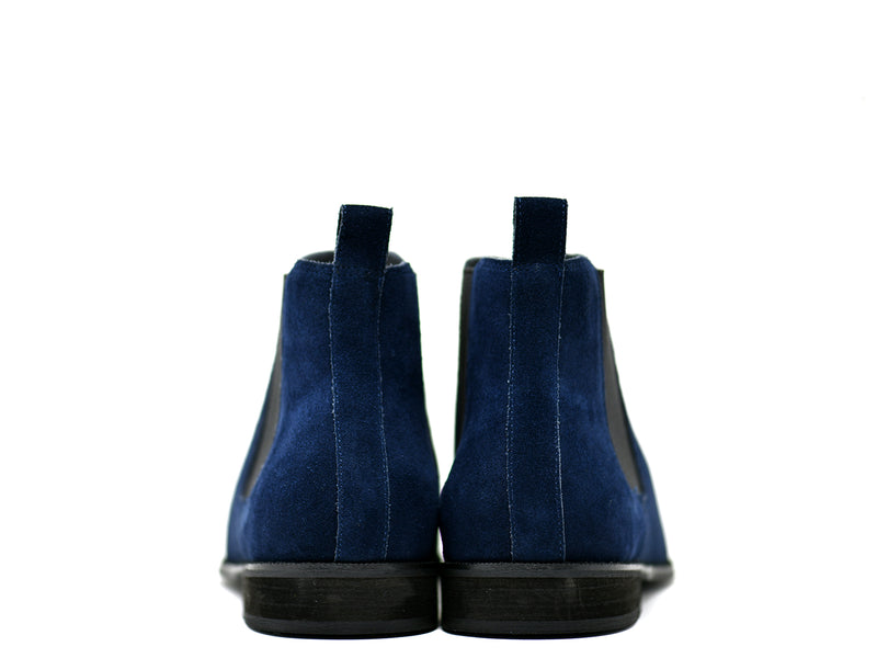 dara shoes mens capri suede chelsea boots in blue back