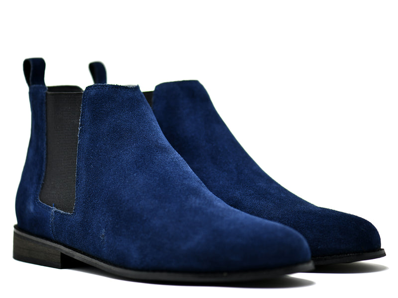 dara shoes mens capri suede chelsea boots in blue front angle
