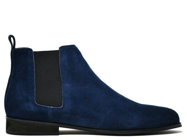 dara shoes mens capri suede chelsea boots in blue side
