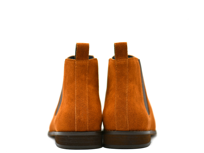 dara shoes mens capri suede chelsea boots in cognac back