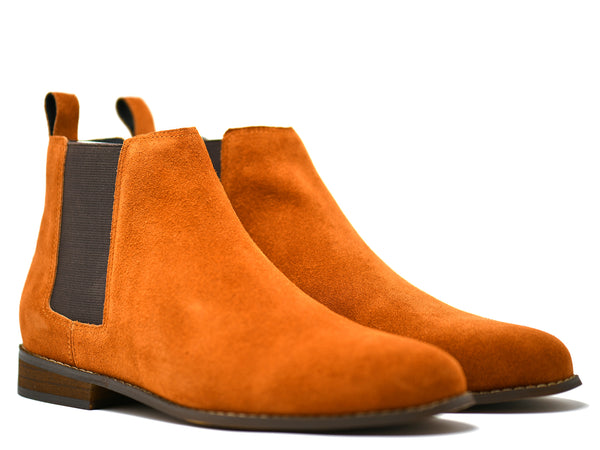 dara shoes mens capri suede chelsea boots in cognac front angle