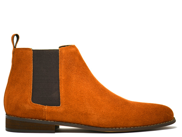 dara shoes mens capri suede chelsea boots in cognac side