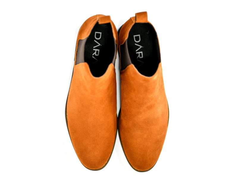 dara shoes mens capri suede chelsea boots in cognac top