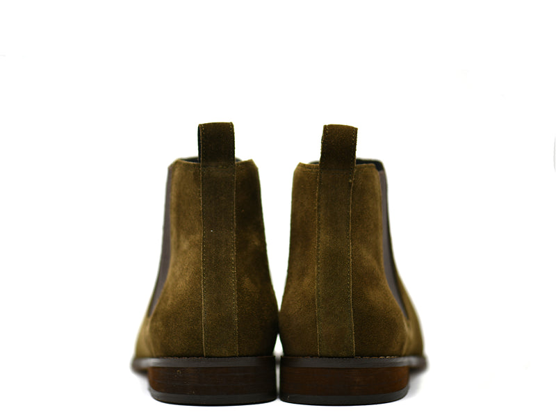 dara shoes mens capri suede chelsea boots in olive green back