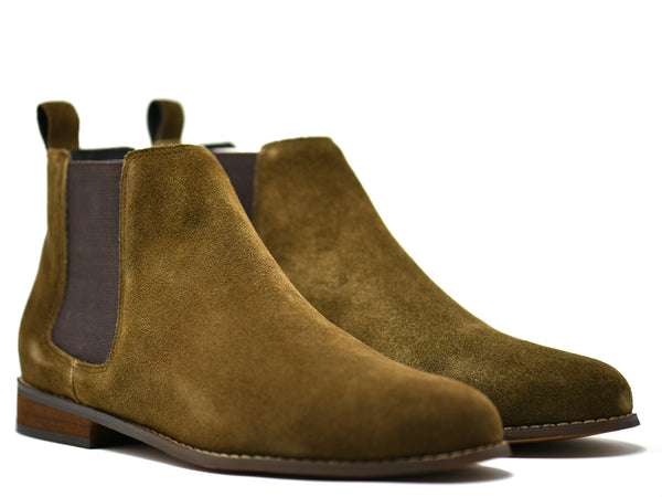 dara shoes mens capri suede chelsea boots in olive green front angle