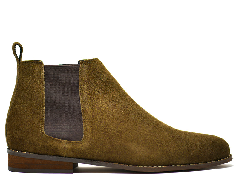 dara shoes mens capri suede chelsea boots in olive green side