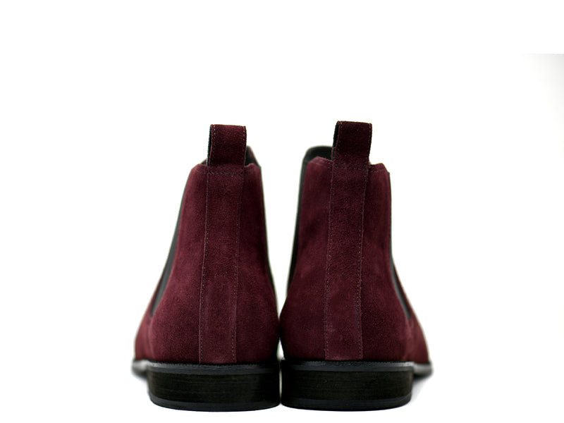 dara shoes mens capri suede chelsea boots in oxblood red back