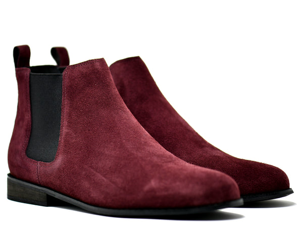 dara shoes mens capri suede chelsea boots in oxblood red front angle