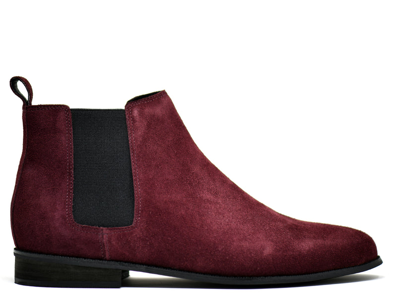 dara shoes mens capri suede chelsea boots in oxblood red side