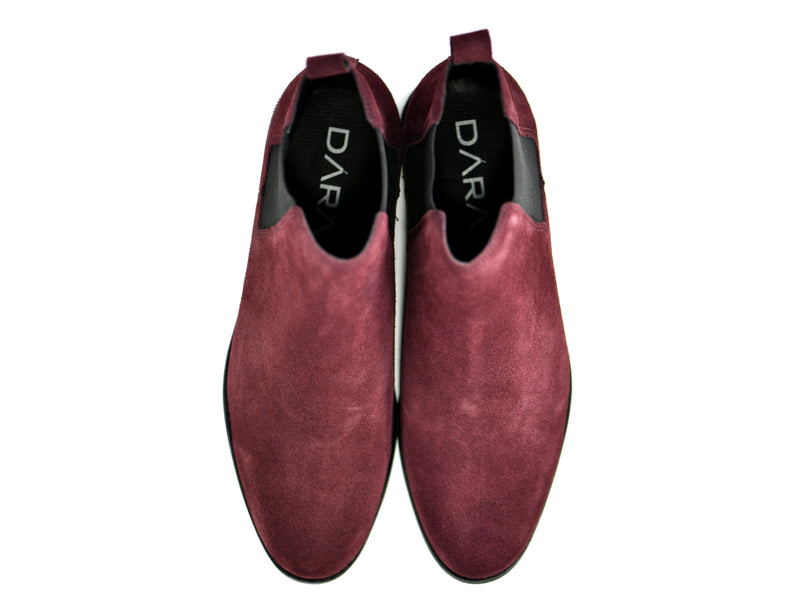 dara shoes mens capri suede chelsea boots in oxblood red top