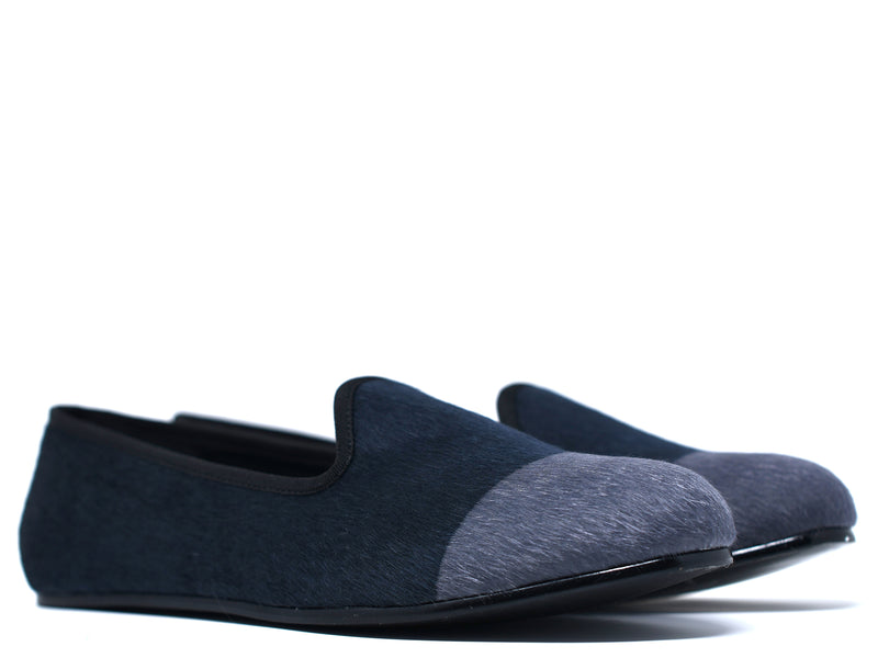 dara shoes mens black and gray elba pony hair velvet slippers and loafers angle view