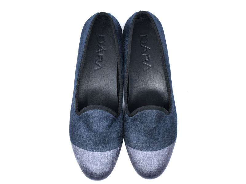 dara shoes mens black and gray elba pony hair velvet slippers and loafers top view
