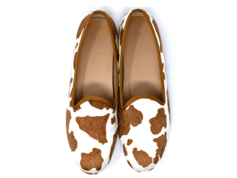 dara shoes mens brown and white elba pony hair velvet slippers and loafers top view