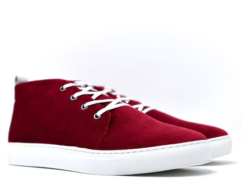 dara shoes mens chili pepper red suede sneakers angle view