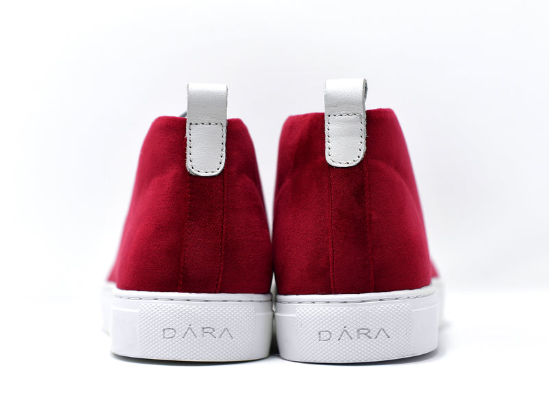dara shoes mens chili pepper red suede sneakers back view