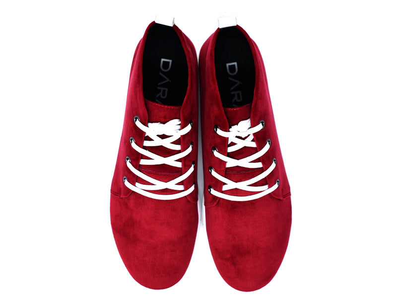 dara shoes mens chili pepper red suede sneakers top view