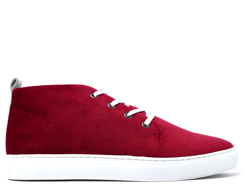 dara shoes mens chili pepper red suede sneakers side view