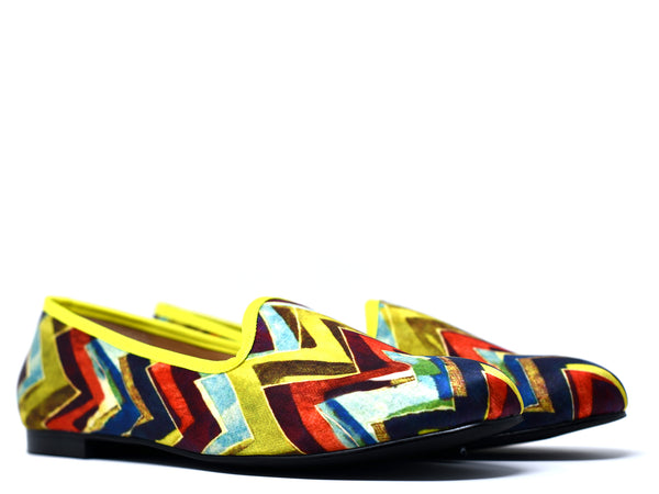dara shoes mens milan multi color chevron velvet slippers/loafers angle view