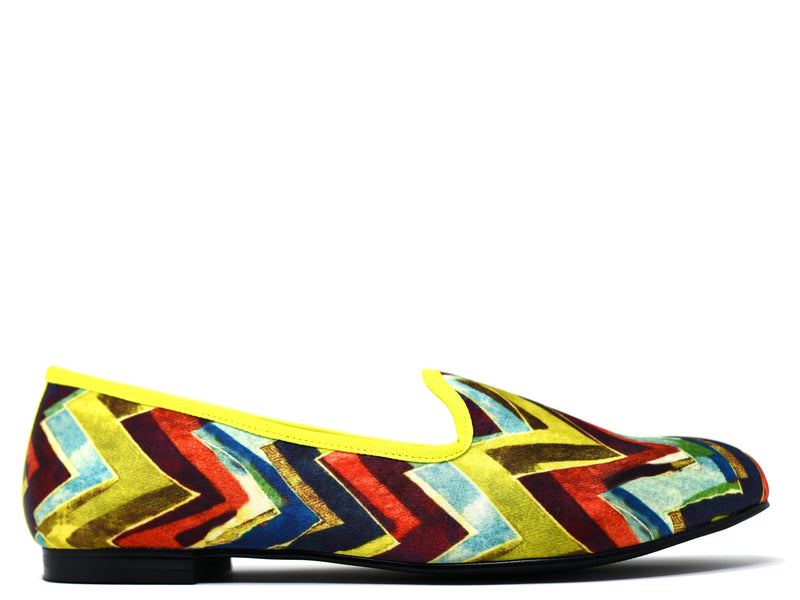 dara shoes mens milan multi color chevron velvet slippers/loafers side view