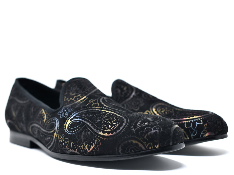 dara shoes mens black paisley velvet slippers and loafers angle view