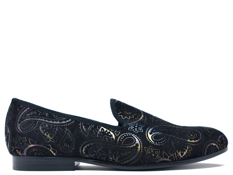 dara shoes mens black paisley velvet slippers and loafers side view