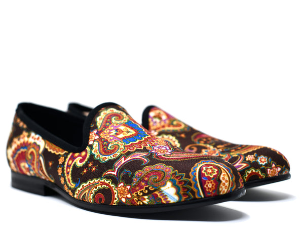 dara shoes mens brown paisley velvet slippers and loafers angle view