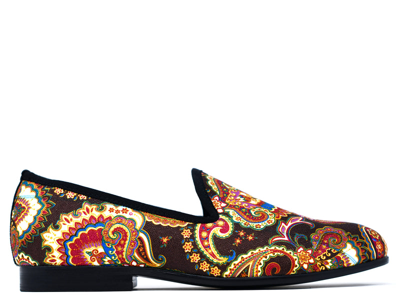 dara shoes mens brown paisley velvet slippers and loafers side view