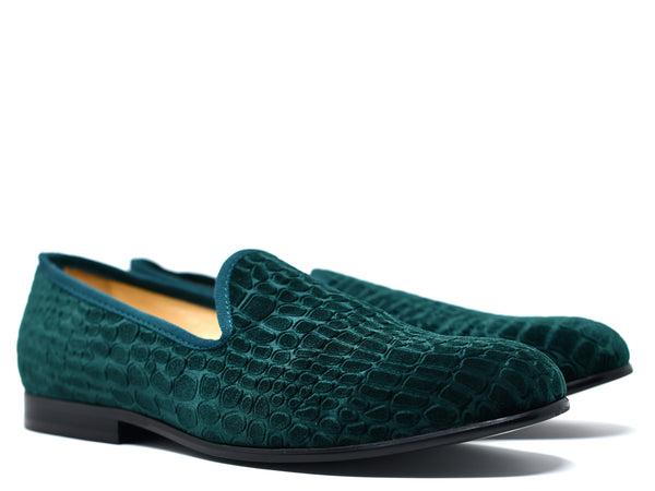 Milan Velvet Slippers in Green