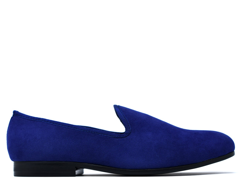 Milan Velvet Slippers in Navy Blue
