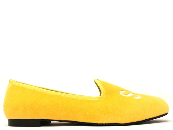 Milan Velvet Slippers in Yellow Savage