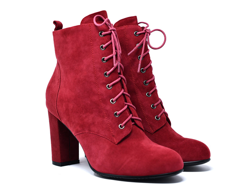 dara shoes womens ada boots in red angle view