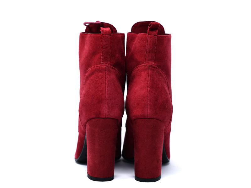 dara shoes womens ada boots in red back view