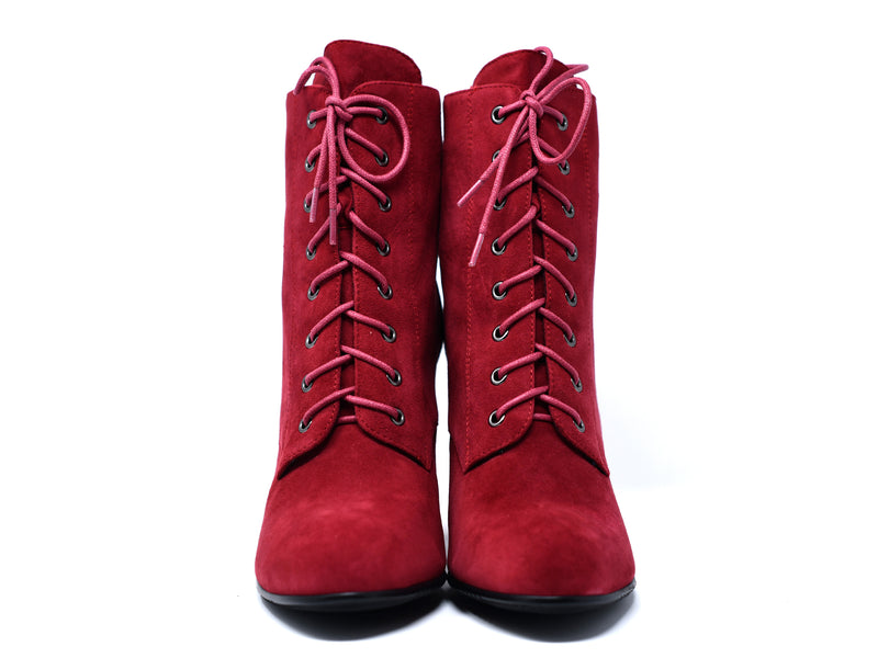 dara shoes womens ada boots in red front view