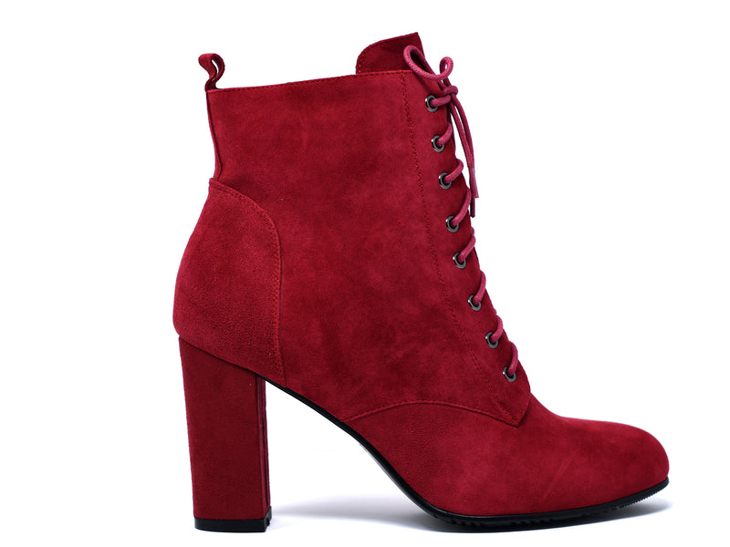 dara shoes womens ada boots in red side view