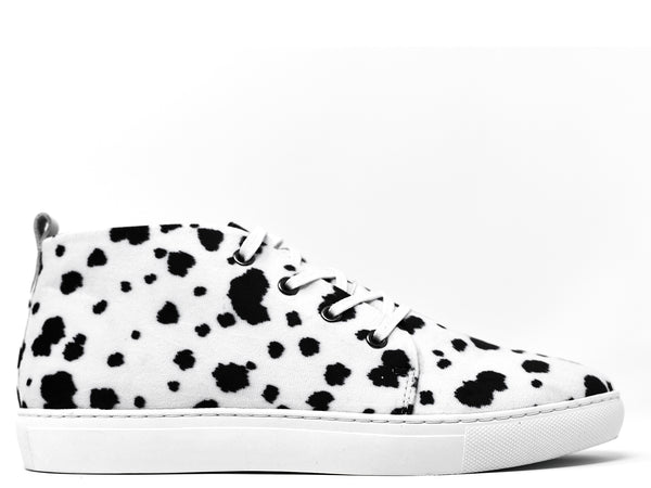 dara shoes mens lucca sneakers in black and white side view