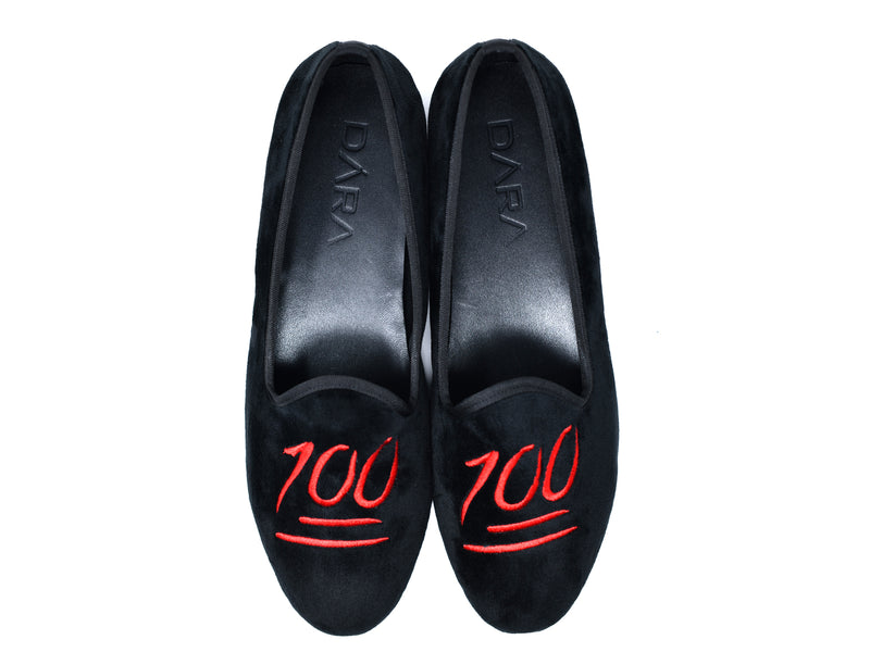 dara shoes mens milan 100 emoji velvet slippers/loafers top view