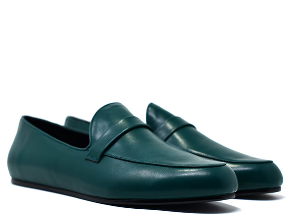 dara shoes mens pavia green leather loafers angle view